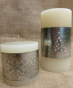 Christmas Candle Wraps.  Hand-crafted by Caroline @ Pewter Concepts