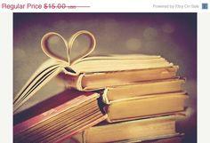 Vintage book love 5x7 Fine Art Photography pages folded in heart shape friendship art print Bibliophile. $10.50, via Etsy.