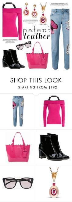"""""""City Slickers: Patent Leather"""" by littlehjewelry ❤ liked on Polyvore featuring Alexander McQueen, Moschino, Kate Spade, Yves Saint Laurent, Balmain, patentleather, contestentry, pearljewelry and littlehjewelry"""