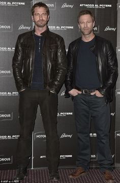 Quite a pair: Gerard Butler and Aaron Eckhart attend a photo-call for Olympus Has Fallen in Rome