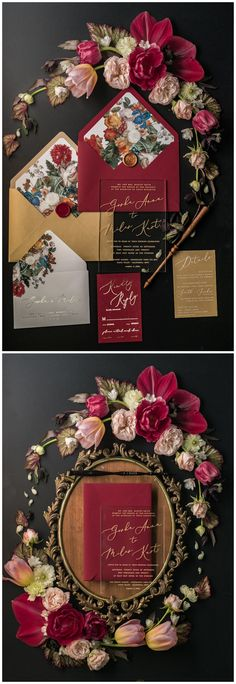 $7.00 Vintage wedding invitations perfect for any wedding style! #burgundy #gold #fallweddings #weddings
