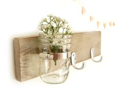 hook key wall vase wood sconce shabby chic cottage style Metallic Taupe...can use in any room!