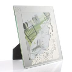 Bride and Groom Silhouette Glass Photo Frame