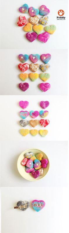 needle_felt_crafts_heart_brooch_hair_clip_cute