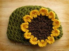 Fall Sunflower Beanie Hat  in Olive Green- Newborn, Baby, Toddler, Child, and Adult Sizes.  via Etsy.