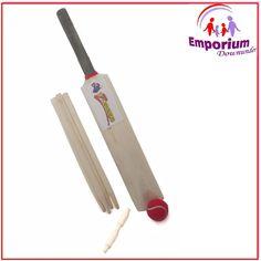 Kids Cricket Set Wooden Size 3 Bat Ball 4 Whickets Stumps Beil Sport Beach Toy