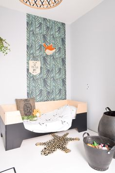 A little jungle theme in my boys' room #boysroom #peuter #littledreamers #peuterbed #jungle #leopard #wallpaper #noodoll