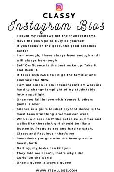 Classy & Witty Insta Bio Idea For Girls - Disney - Instagram Bio Clever, Name For Instagram, Good Instagram Bios, Instagram Picture Quotes, Instagram Captions For Selfies, Selfie Captions, Selfie Quotes, Instagram Funny, Beautiful Captions For Instagram