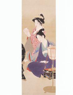 鏑木清方の'権八小紫'(昭和初期 光記念館)「Gonpachi&Komurasaki」 By Kiyokata Kaburaki
