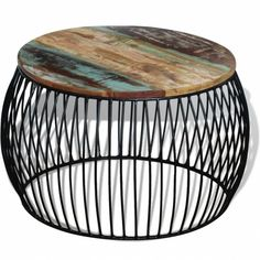 Round Retro Vintage Coffee Table Industrial Solid Reclaimed Furniture Unusual