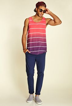 Nice relaxed style. Striped Ombré Tank Top. Perfect for a lazy Saturday around the crib. Chic in all forms men that's the goal.
