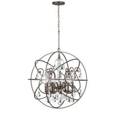 "Crystal Orb Chandelier | Ballard Designs, medium size orb crystal and silver chandelier 24""H X 22"" Diameter $749."