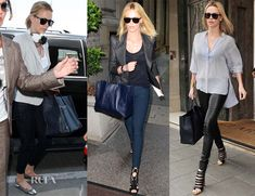 """I love the far right look of Charlize Theron. """"On this occasion she wore blue-and-white striped Stella McCartney shirt paired with The Row 'Moto' stretch-leather leggings-style pants and Christian Louboutin 'Decoupata' ankle boots."""" with a Balenciaga 'Papier' bag in black. Beautiful."""