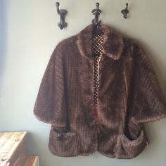 Faux fur jacket Brown faux fur jacket by Monoplaza. In perfect condition. The best part about it: the polka dotted lining  Jackets & Coats Capes