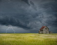 north dakota art abandoned buildings | Thunderstorm with Lightning on the Prairie with Abandoned Farm House ...