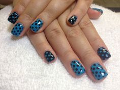 Blue Nails With Black Polka Dots And Black And Black Nails With Blue Polka Dots