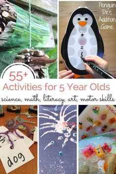 These 55+ activities for 5 year olds include play-based learning ideas to work on science, math, literacy, art and fine/gross motor skills!