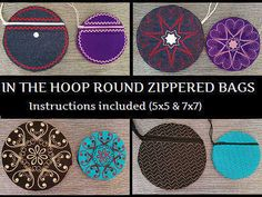 In The Hoop Round Bags Machine Embroidery Designs http://www.designsbysick.com/details/ithroundbag