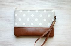 Polka dot grey wristlet Clutch Purse Vegan Faux by HelloVioleta, $28.00