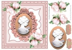 Pretty Cameo Lady With Peach Roses In Ornate Frame