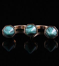 anel duplo spikes turquesa e dourado La Ditta www.laditta.com.br