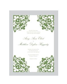 shamrock wedding invitations | Irish Wedding Invitation Set PRINTABLE DIY.