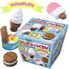 Japan DIY Deco Kutsuwa Eraser Clay Gift Box Set MOLD Cookie, Ice Cream, Ice Lolly. $13.99, via Etsy.