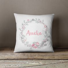 Custom Baby Girl Name Nursery Throw Pillow/ Pale Pink Mint Green Floral/ Custom Name/ Baby Girl/ Nursery Pillow/ Personalized Name Pillow/