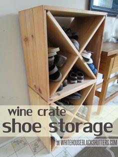 Old wine crate shoe storage