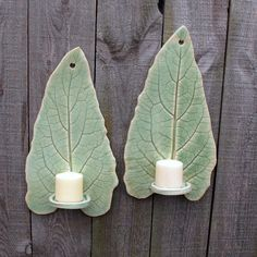 Handbuilt Tall Leaf Clay/Pottery Wall Hanging Candle Sconces/ Holders in Light Green Celadon, set of 2. $32.00, via Etsy.