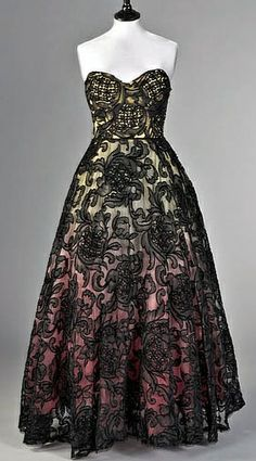 """1955 Pierre Balmain Vintage black lace gown w/ ombre colors underneath. Amazing how what we consider """"new"""" in fashion, is never new. Hitting 2 current trends in one shot... all the way back in the 50s."""