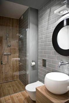 nice Idée décoration Salle de bain - salle de bain 6m2 sol en dalles immitant bois et mur en dalles gris...