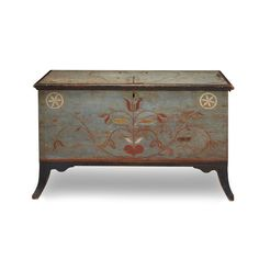 Federal painted and decorated pine blanket chest Centre County, PA, early 19th century H: 23 in. W: 37 1/2 in. D: 18 3/4 in.