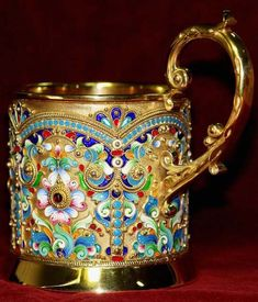 IMPERIAL RUSSIAN SHADED CLOISONNÉ ENAMEL TEA GLASS HOLDER~  Русский народный костюм - Страница 8 - Беседка