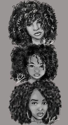 Natural Hair Sketches by KiraTheArtist.deviantart.com on @DeviantArt