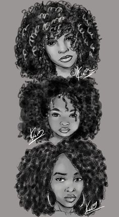 kiratheartist:  Natural Hair Sketches by KiraTheArtist