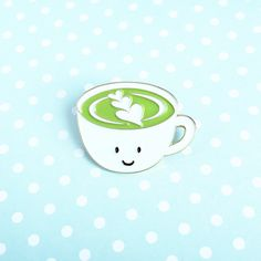 Matcha Green tea Latte (Matcha made in heaven) enamel pins by queeniescards.com