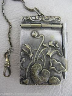 Antique Art Nouveau Brass Chatelaine Floral Memoire Aide Dance Card Pencil Case