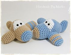 Crochet toy baby rattles set of two airplanes  organic by ByMarika, $42.00