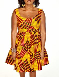 Yellow and Red African Ankaka Print Dress Handmade by ZabbaDesigns, $80.00