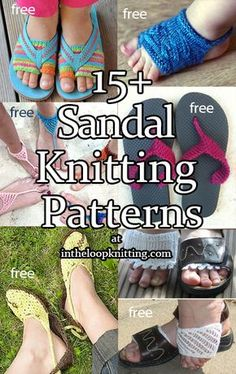 Sandal and Summer Footwear Knitting Patterns. Most patterns are free.