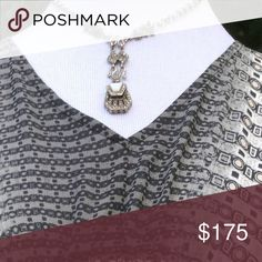 """Sterling Silver Marcasite Drop Necklace VTG XO 💕💕 yup the sterling and Marcasite design has an XO I'm not making this up! It's the LOVE 💕💕 purse necklace. A gorgeous vintage sterling silver, Marcasite and mother of pearl delight. And yes the purse really opens and closes. Not sure what you could fit in it! A real treasure 15"""" long 3"""" drop. 925 Sterling. Excellent Vintage Condition 💕💕 Vintage Jewelry Necklaces"""