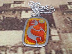 Kokopelli jewelry Fertility Necklace Native american art by GoldDa, $40.00