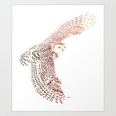 Art print: Chromatic Snowy Owl Art Print