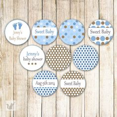 INSTANT DOWNLOAD Printable Small Candy Labels 0.75 inch Candy Stickers Baby Shower Party Favors It's A Boy Blue Brown Baby Feet Polka Dots