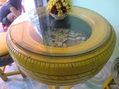 Tire Table 18 Cool Ideas How To Reuse Old Tires - Always in Trend Reuse Old Tires, Reuse Recycle, Deco Dyi, Tire Table, Tire Chairs, Tire Craft, Tire Furniture, Furniture Ideas, Recycled Furniture