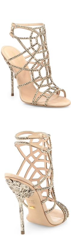 Sergio Rossi Crystal and Suede Puzzle Sandals