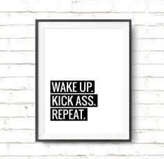 Typography Poster Motivational Print Wake Up Kick by ArtCoStore