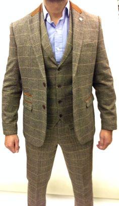 Mens Marc Darcy Designer Tweed Herringbone Checkered Vintage 3 Piece Suit   eBay