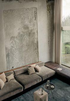 grey velvet sofa tribal wallpaper greyish interior